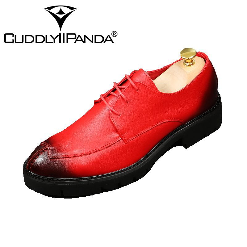 CUDDLYIIPANDA 2018 Oxford Shoes For Men Formal Party Men Dress Shoes Flats  Red Wedding Shoes Fashion ae795c19a427