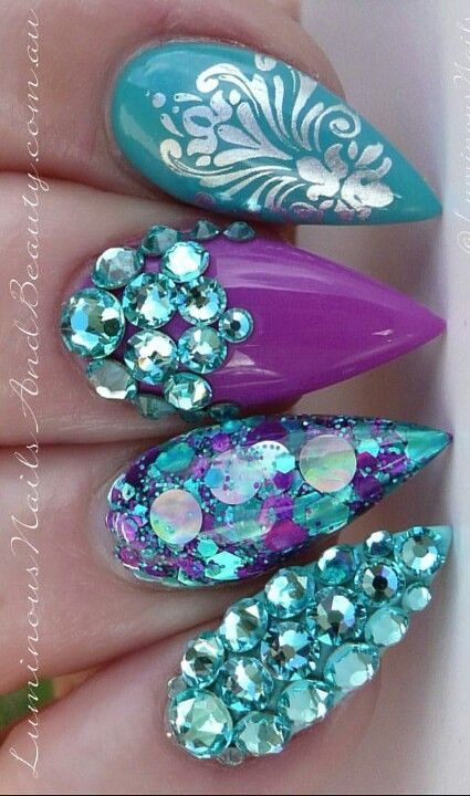 blue purple rhinestone nails