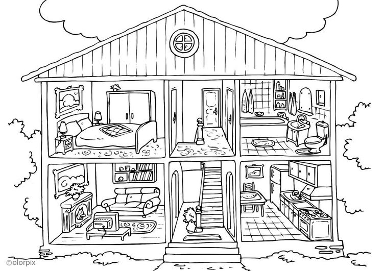 Coloriage Maison  Intrieur  Classroom Ideas