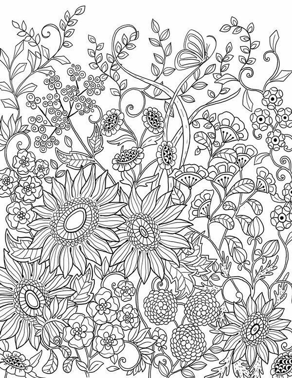 Sunflowers Adult Coloring Page Adult Coloring Pages