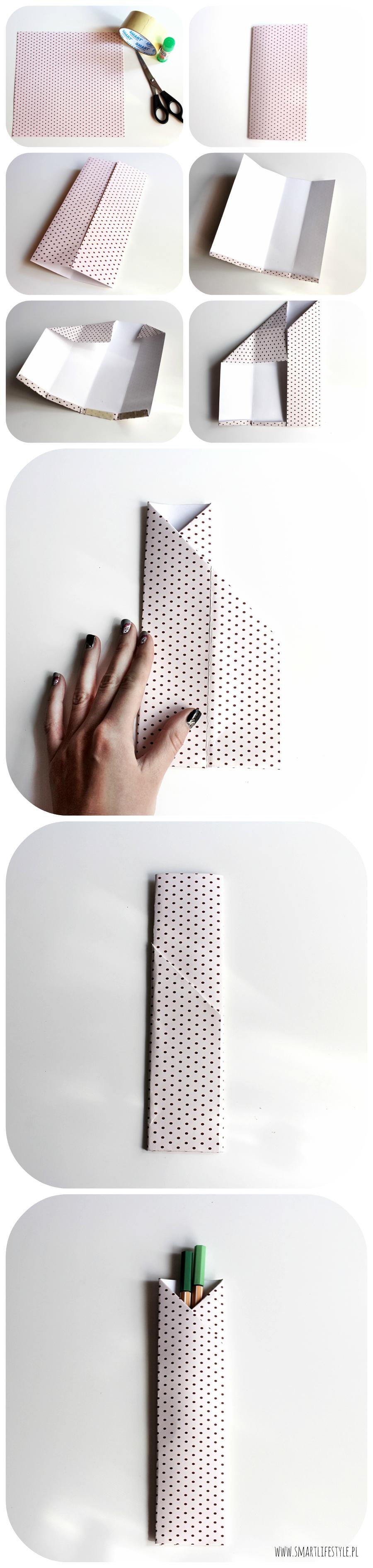 Jak wykonać papierowe etui na długopisy? How to make paper pencil case? www.smartlifstyle.pl