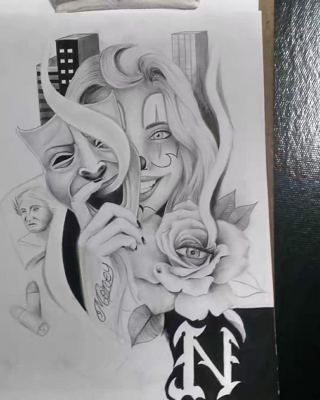Desenho Palhaço Tatuagem pin em chicano