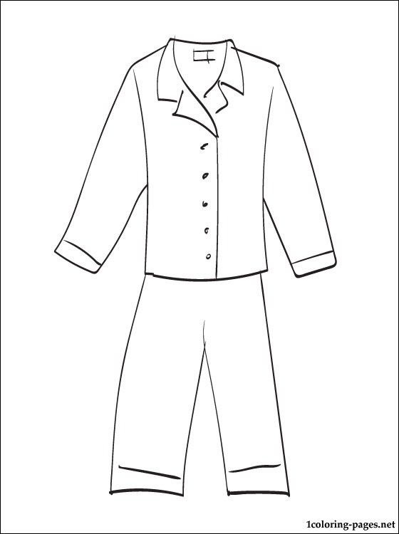 Pajama printable coloring pages teaching 2 pinterest for Pajama coloring page