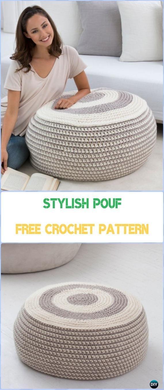 Crochet Stylish Pouf Free Pattern - Crochet Poufs & Ottoman Free ...