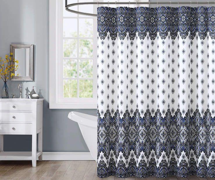 Aaliyah Faux Silk Cobalt Blue Black Gray Shower Curtain 72 At Big Lots