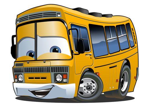 Funny Cartoon Bus Vector Set 07 Escolares Pinterest