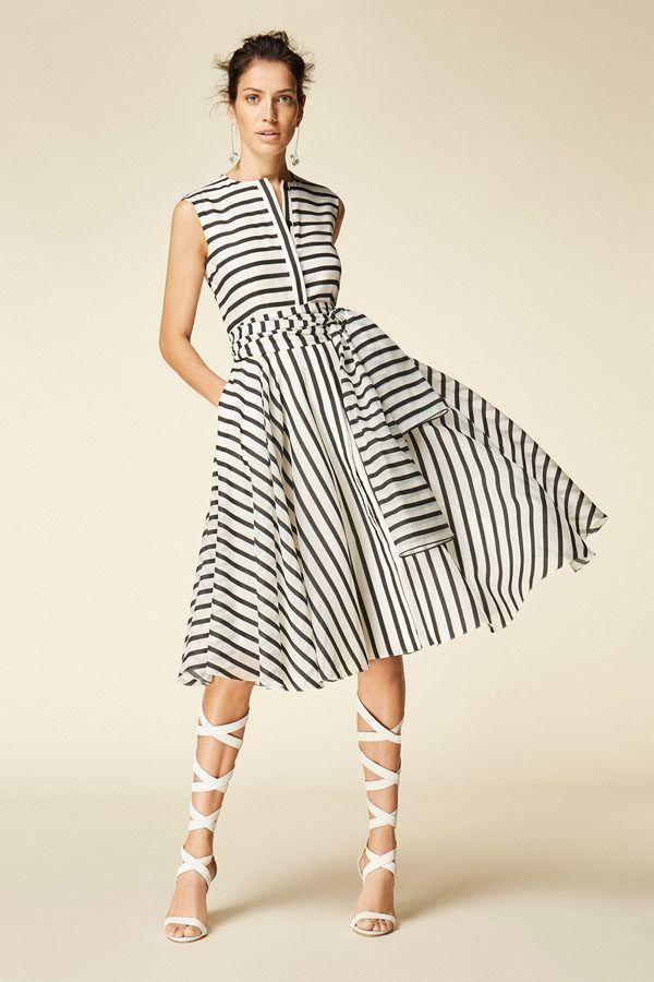 Carolina Herrera Rebajas Vestido Rayas Vestidos Moda De