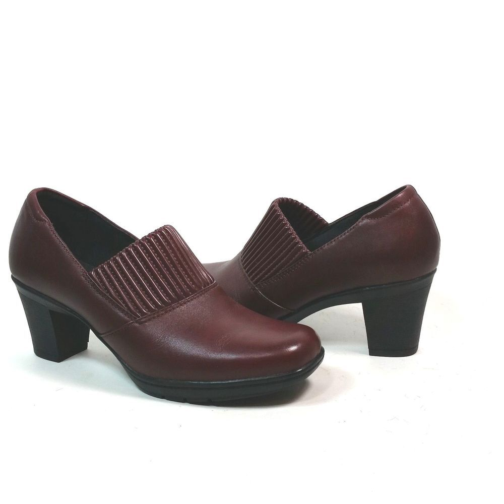 001cd679b9c29 Clarks Bendables 8.5 M Leather Burgundy Casual Pumps Slip On Block Heels  Shoes #Clarks #PumpsClassics #Casual