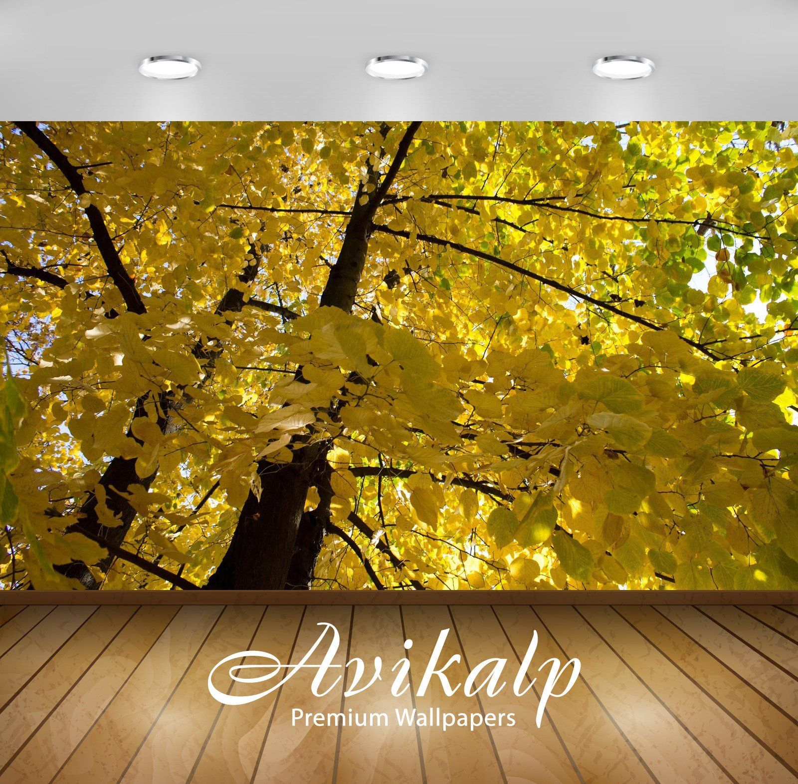 Avikalp Exclusive Awi6752 Yellow Linden Branches Nature ...