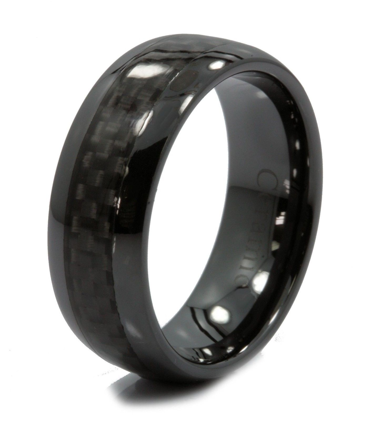 ring half black dome ceramic fiber pin men carbon band wedding rings women