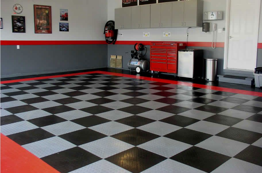 Diamond Grid Loc Tiles Garage Ideas Man Caves And
