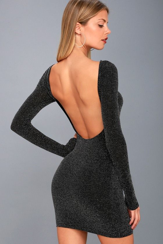 b4bf26dea8d3 Stay party-ready in the Gift of Love Black and Silver Backless Long Sleeve  Bodycon Dress! Stretchy black knit