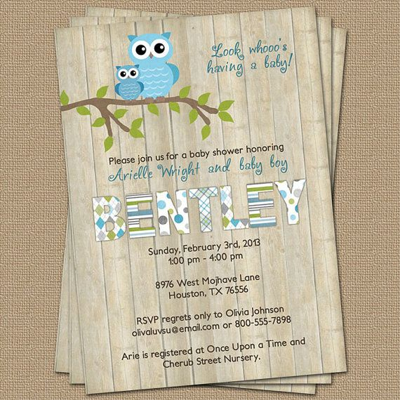 Owl baby boy shower invitation with wood background blue digital owl baby boy shower invitation with wood by freshlysqueezedcards 1300 filmwisefo
