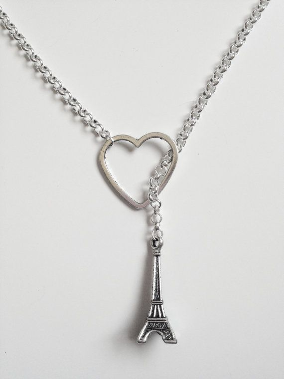 34fa60c20f10 Silver Heart and Eiffel Tower Necklace by KananiKouture