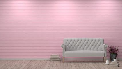 Simple Living Room Sofa In Front Of Pink Wall Interior Design 3D Illustrationvalentine Heart