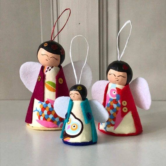Christmas Angel Decorations Kokeshi Doll Angels Kawaii | Etsy