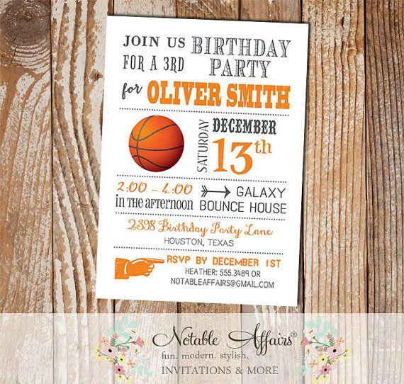 Gray and orange modern basketball birthday party invitation gray and orange modern basketball birthday party invitation choose your colors no custom wording stopboris Choice Image