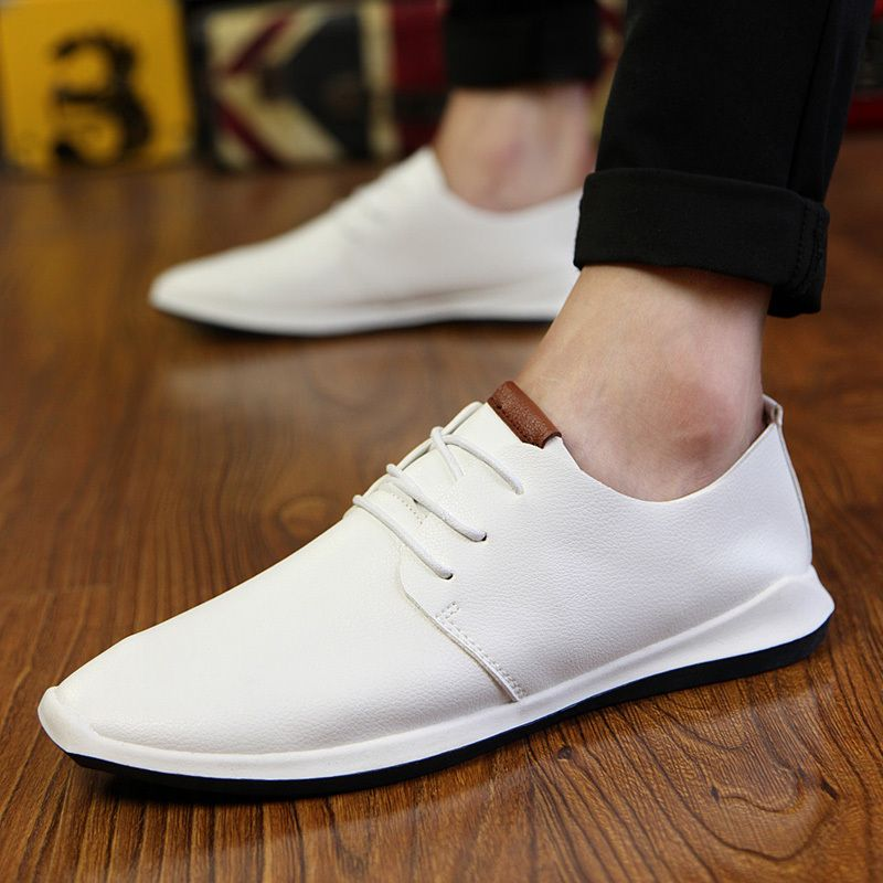 UK Outlet Sale - Classical Flat Sneakers 2016 Leather Oxfords Street Mens Non-Slip Sports