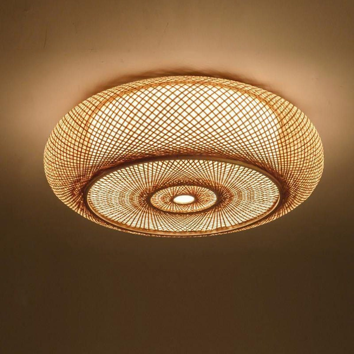 Bamboo Round Ceiling Plafon Lamp Bedroom Ceiling Light Ceiling Lights Hanging Ceiling Lamps