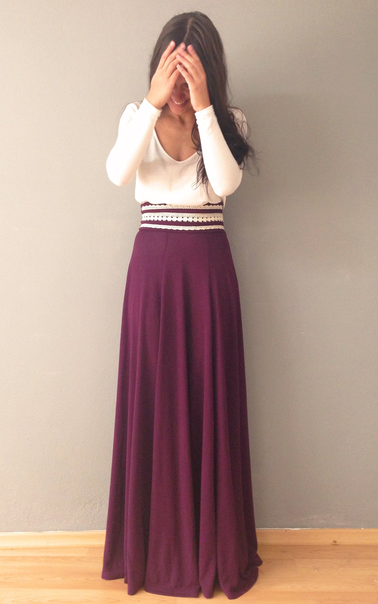 0a22258de6f35c long sleeved blouse with maxi & fancy belt wine colored skirt w crème top