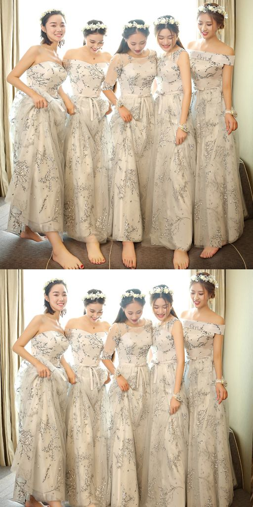 Sweetheart Different Style Floral Chiffon Long Bridesmaid Dresses ...