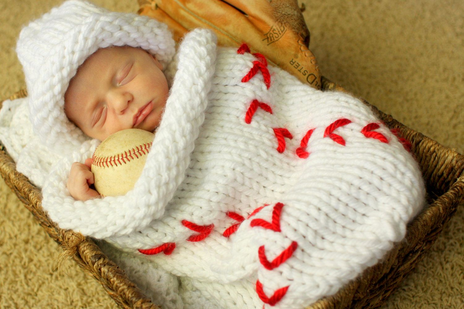 b9db454693c Knit Baseball Cocoon and Hat - Pattern.  4.00