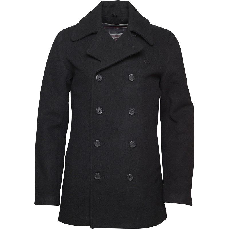 Fred Perry Mens Wool Pea Coat Black £129.99 #whattomwore | Buy Tom ...