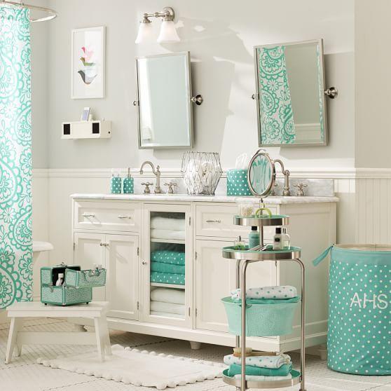 Garden paisley shower curtain pbteen aqua and white color scheme for a teen girl bathroom