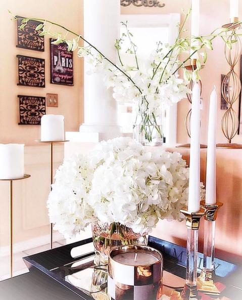 White House Decor Ideas White Candles White And Gold Home Decor White Flower C Round Coffee Table Styling Traditional Coffee Table White Flower Centerpieces