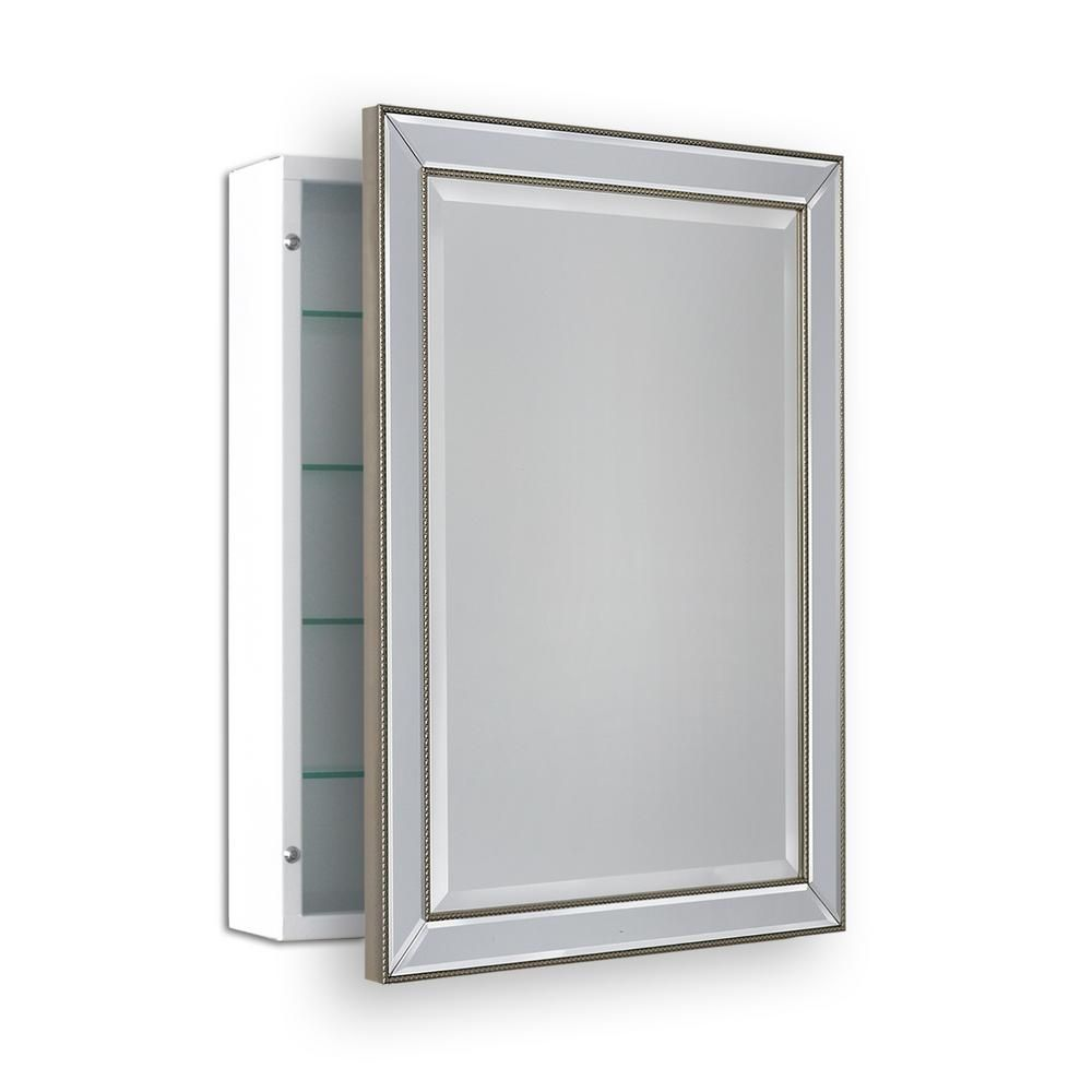 Deco Mirror 22 In W X 30 In H Surface Mount Metro Beaded Medicine Cabinet In Silver Champagne 6301 The Home Depot Adjustable Shelving Glass Shelves Surface Mount Medicine Cabinet