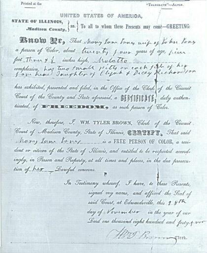 Illinois certificate of free status