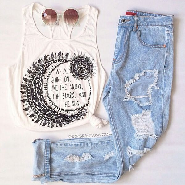 Moon Top And Ripped Outfit