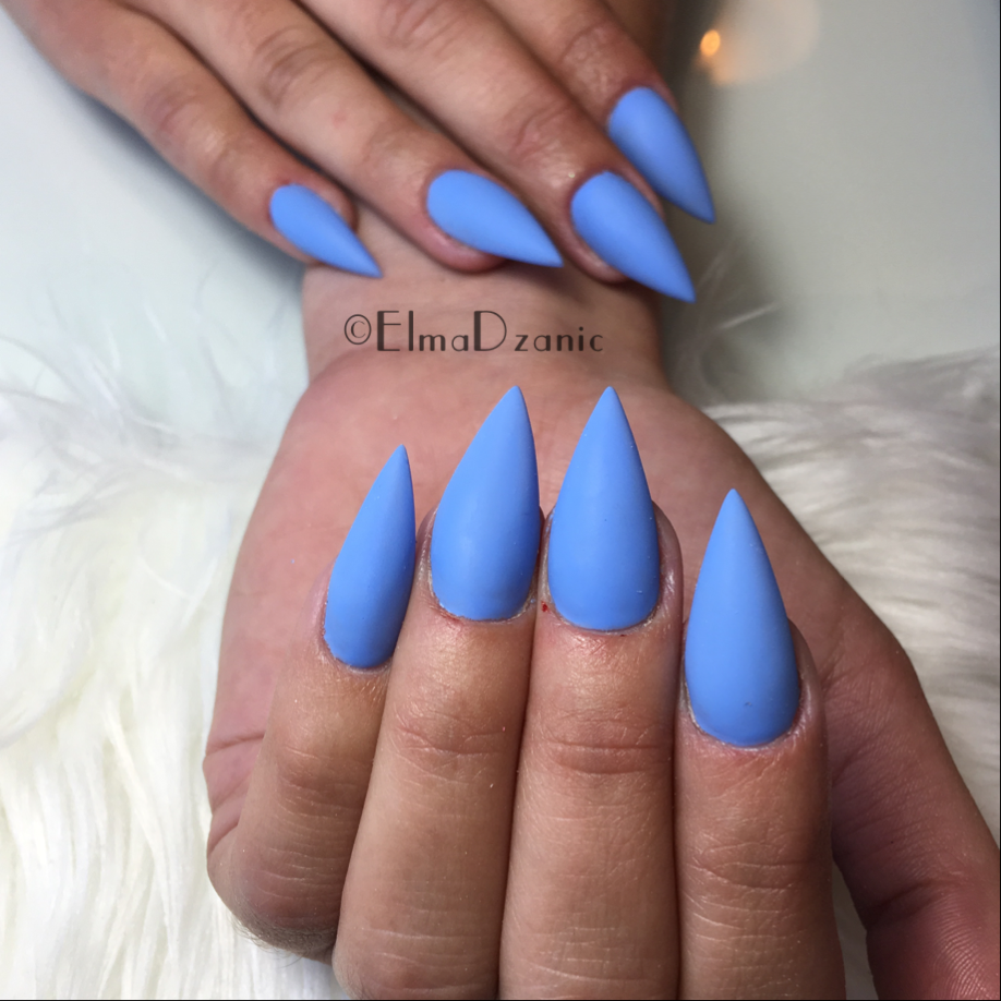 Matte Blue Stiletto Nails | Best Nail Designs 2018