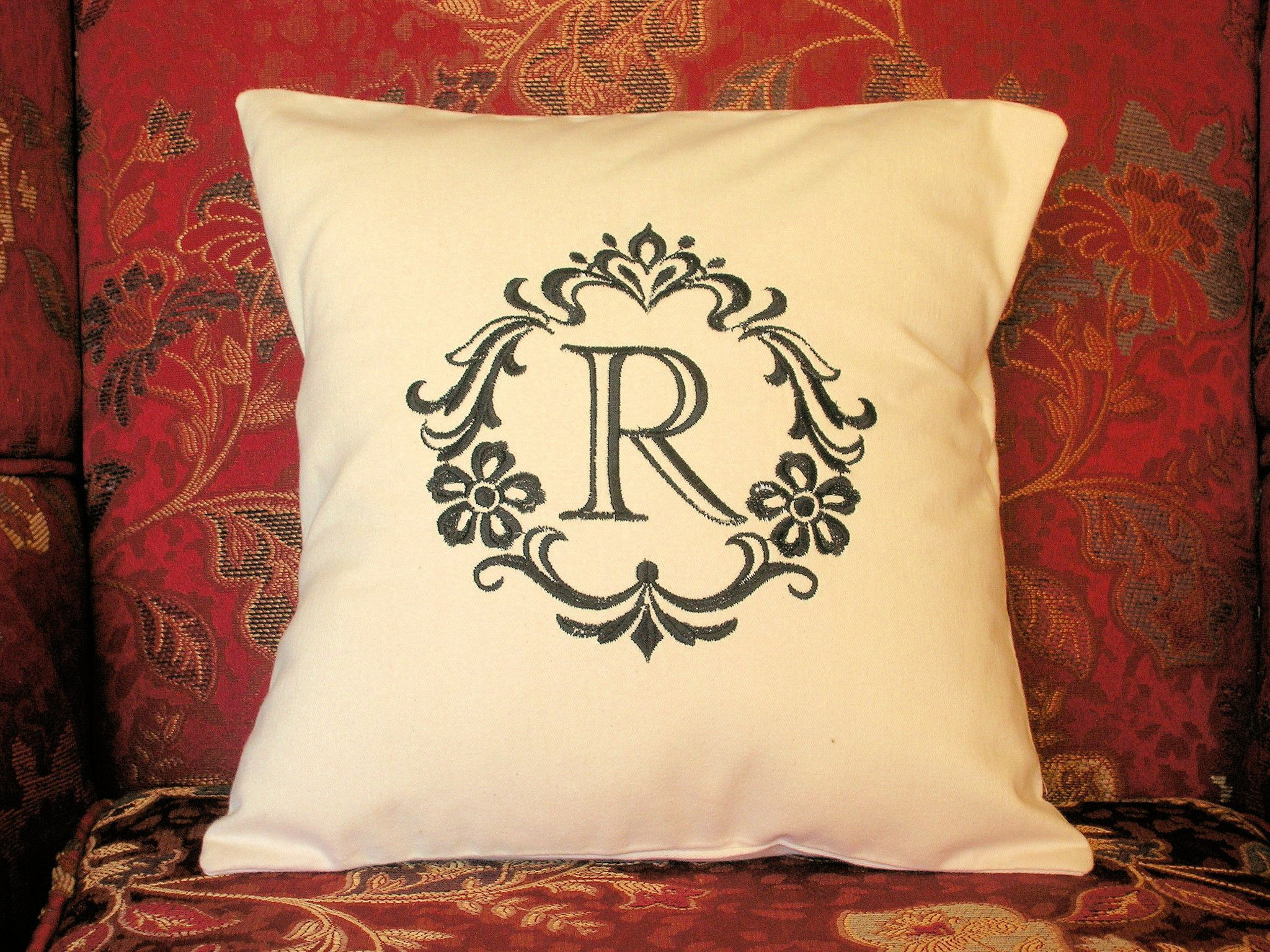 Pillow Cover, Damask, Cotton Pillow Cover, Pillow Cover, Monogram Throw Pillow Cover R