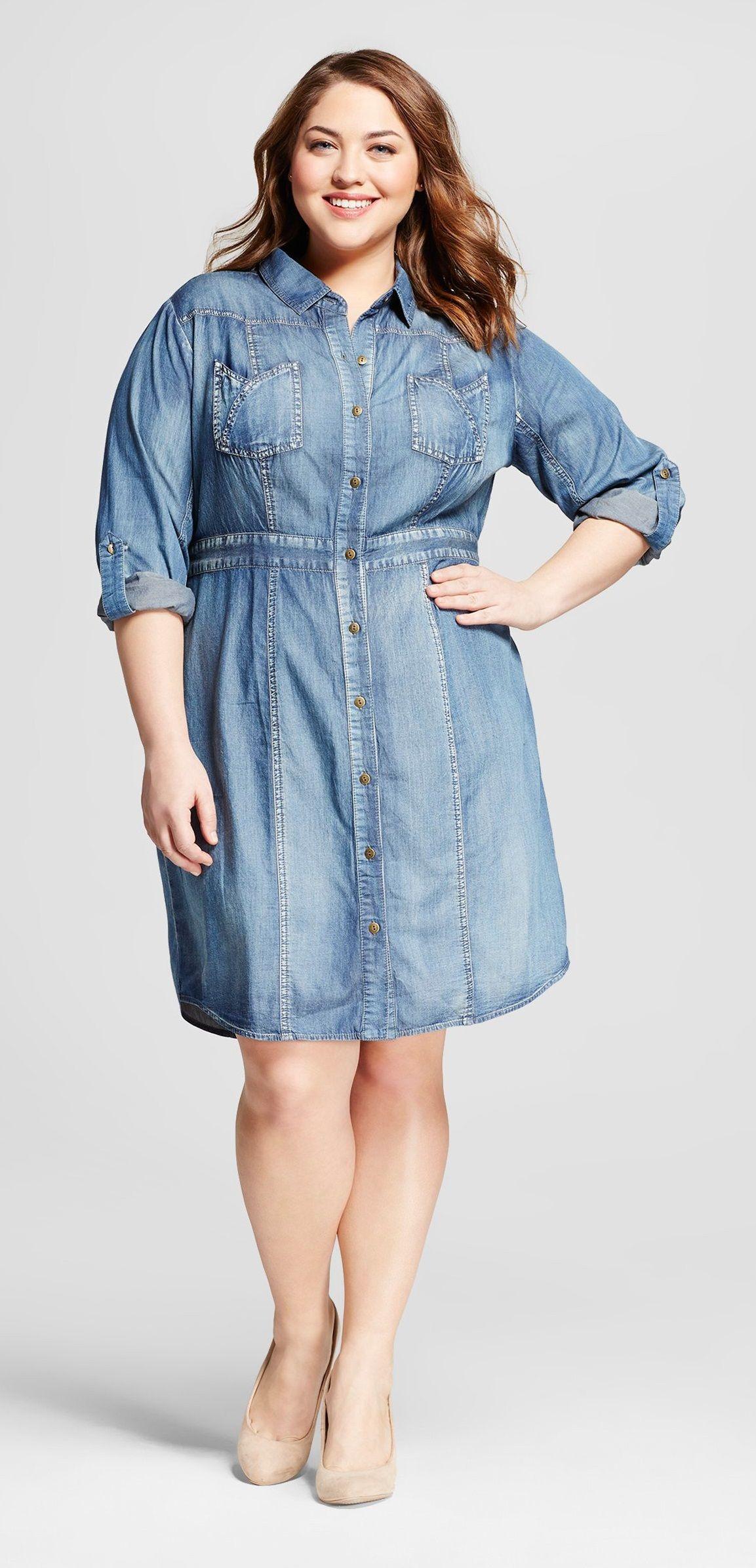 Plus Size Denim Shirt Dress | modas | Pinterest | Ropa de tallas ...