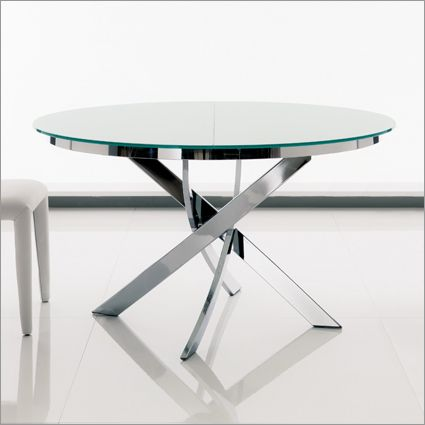 Description: Round Dining table with Glass top and Chrome or White ...
