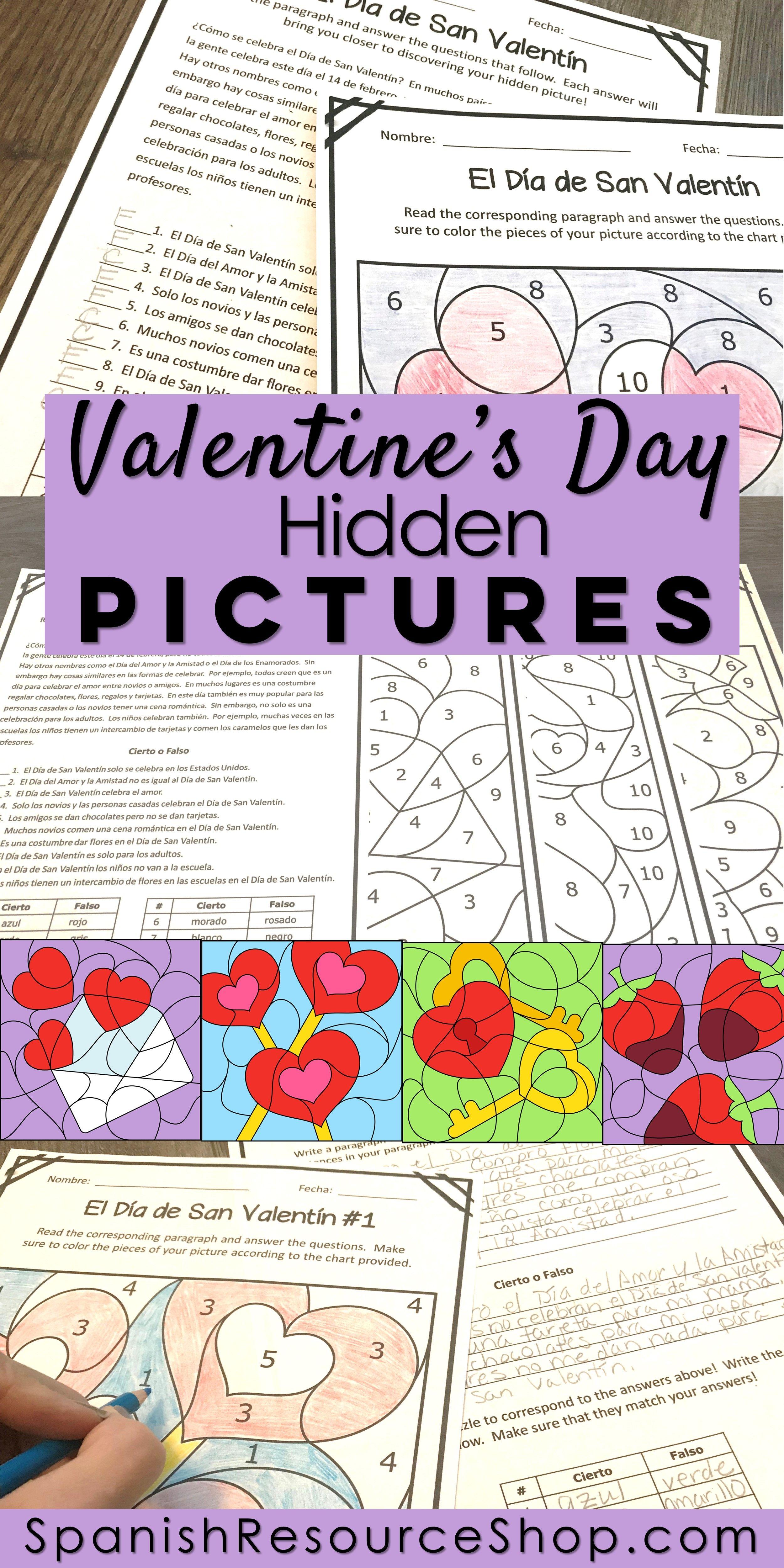 Spanish Valentine S Day Reading Comprehension Hidden