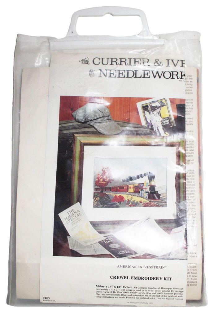 Crewel Embroidery Kit American Express Train Currier & Ives Needlework 14 x 18