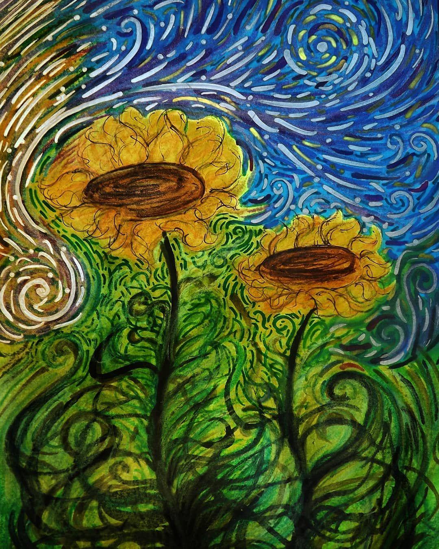 Sunflowers 2018 Van Gogh Style Art Of Starry Night Van Gogh