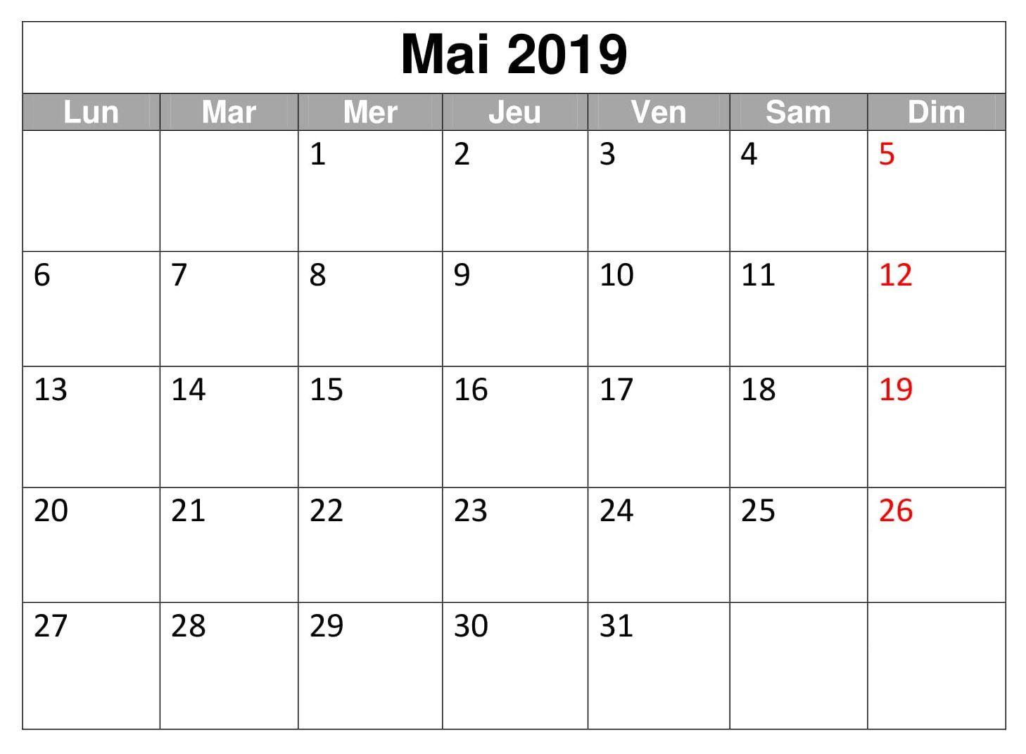 Calendrier Planificateur Mai 2019 Pdf Calendar Template