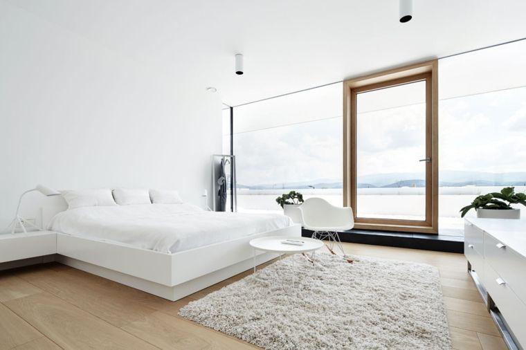 camera-da-letto-moderna-tappeto-peloso-pavimento-parquet-mobili ...
