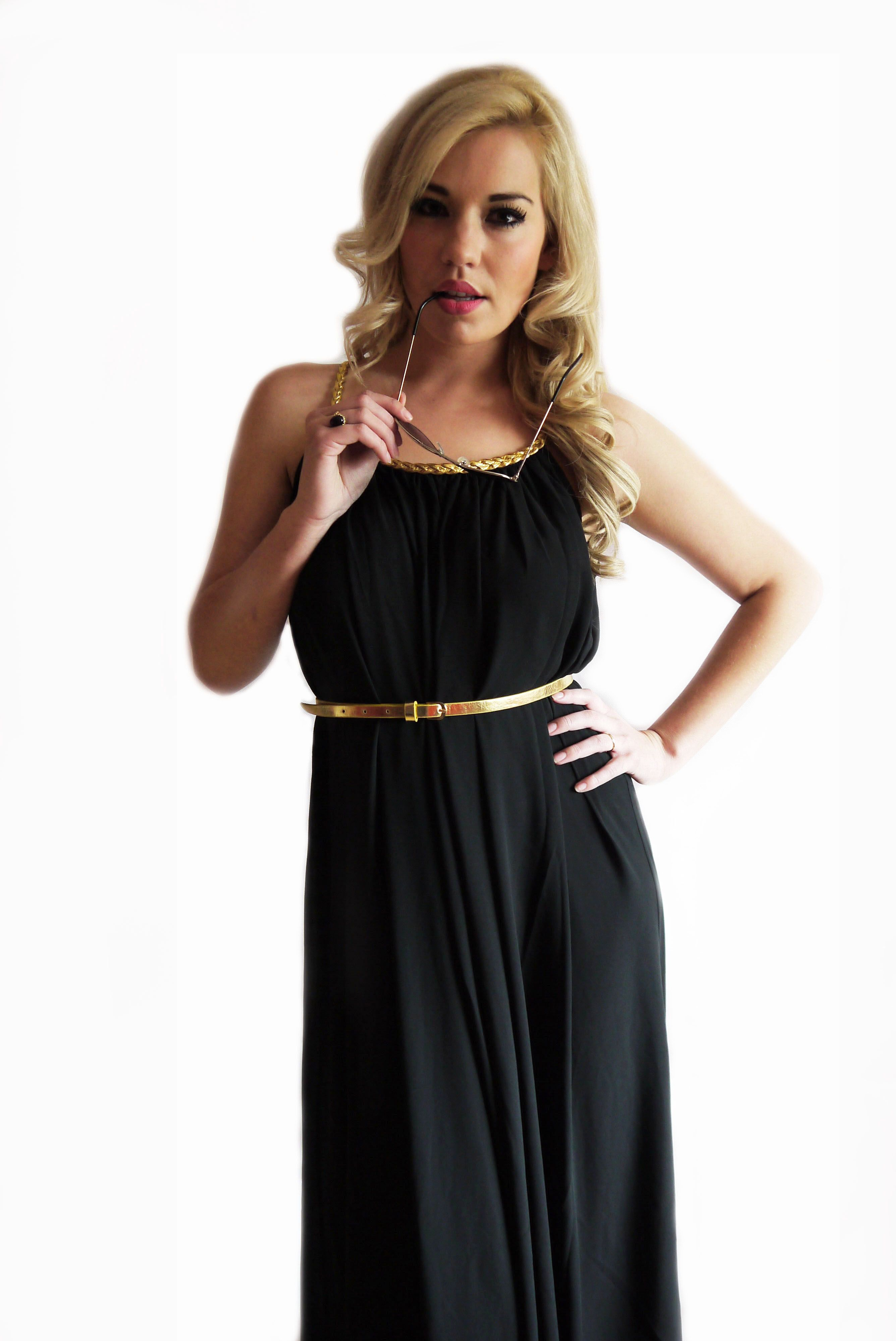 Black and gold maxi dress uk