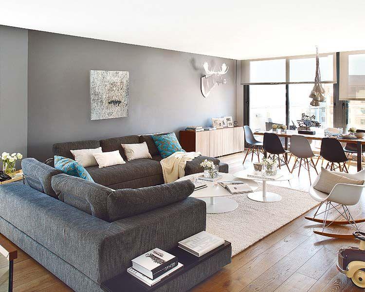 Un duplex en gris, bleu et bois - Sonia Saelens déco | Salons, Walls ...