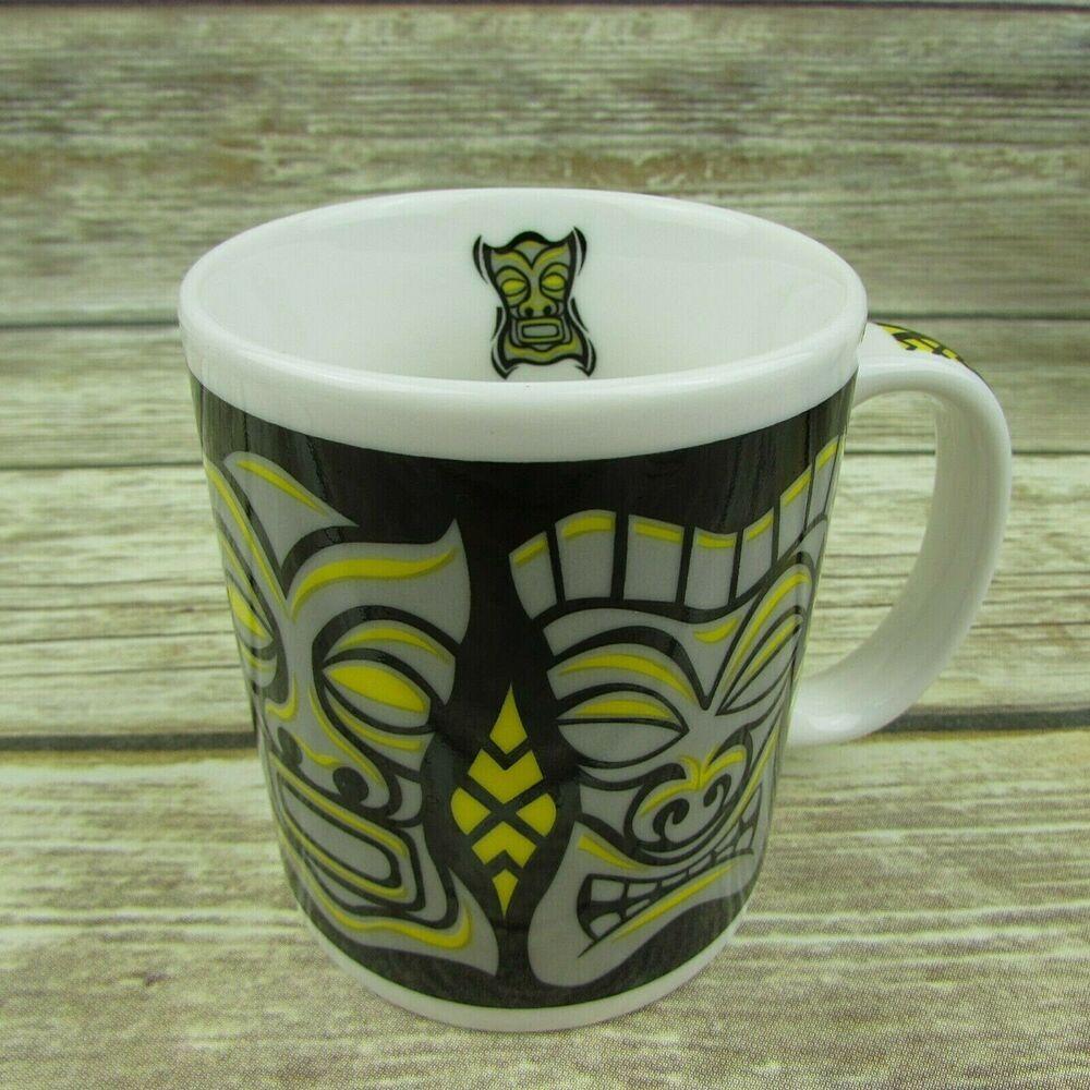 Details about tiki mask black coffee mug cup the islander