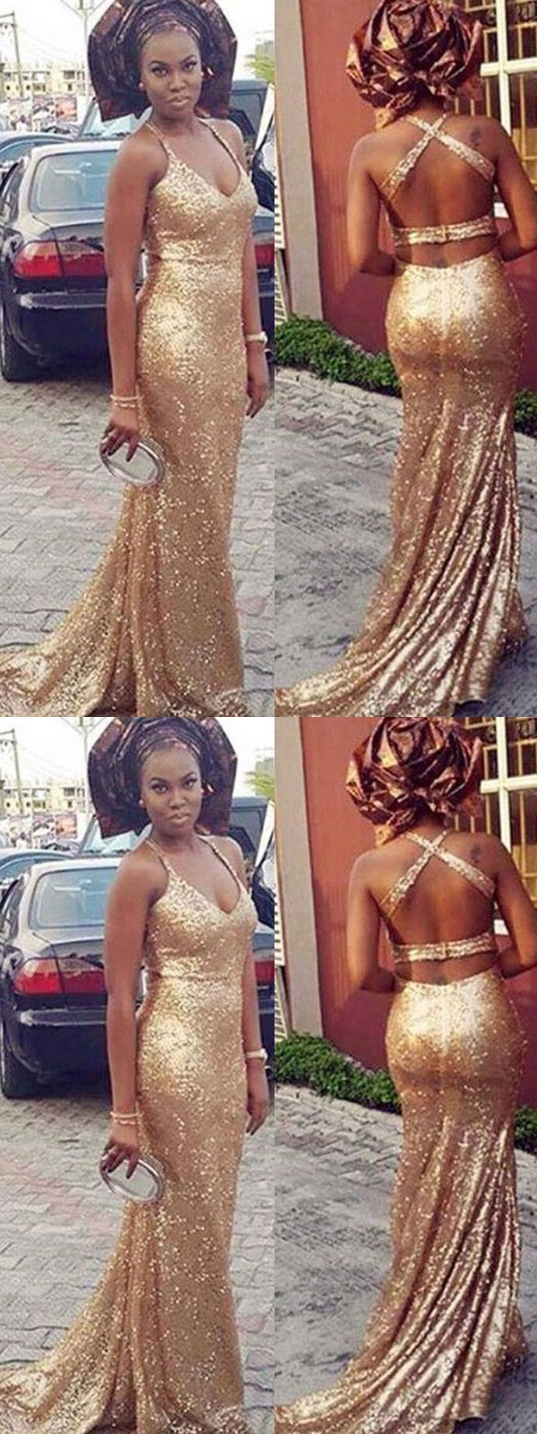 Mermaid gold prom dress modest beautiful cheap long prom dress