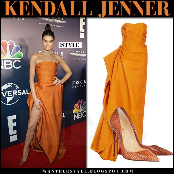 Kendall Jenner in orange strapless gown