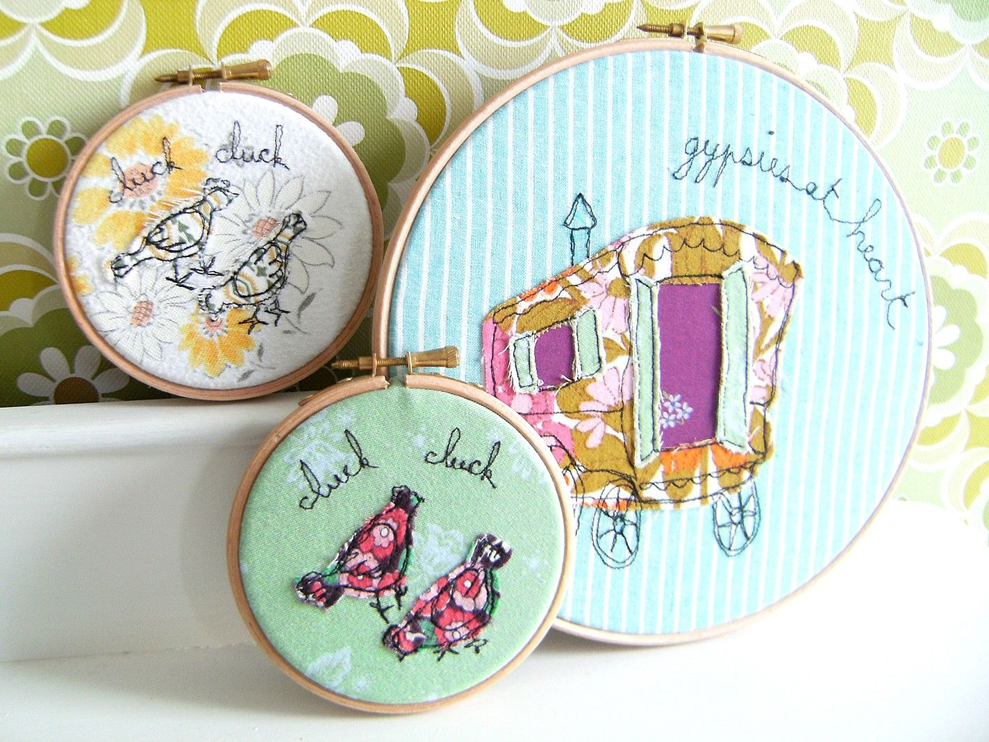 """Embroidery Hoop Art - 'Clucking chickens' Textile illustration in yellow - 4"""" hoop. £17.00, via Etsy."""
