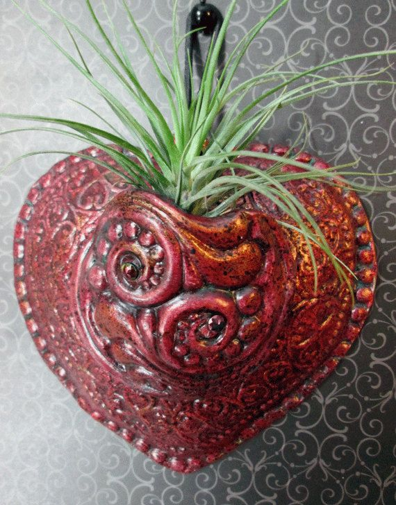 Ceramic Heart Wall Pocket unique handmade and by QueeniesHearts, $32.00