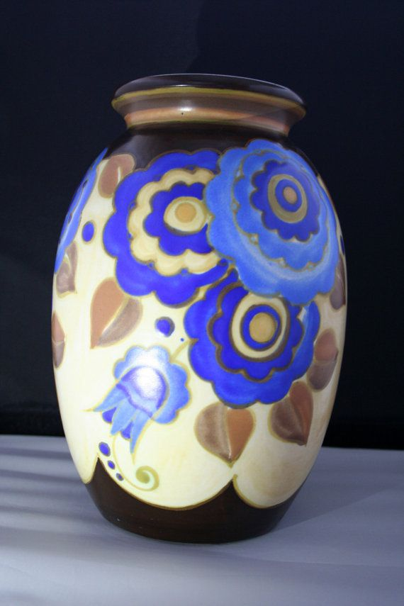 Rare Antique Art Deco Flowers Vase By Boch Freres Keramis Signed Bfk