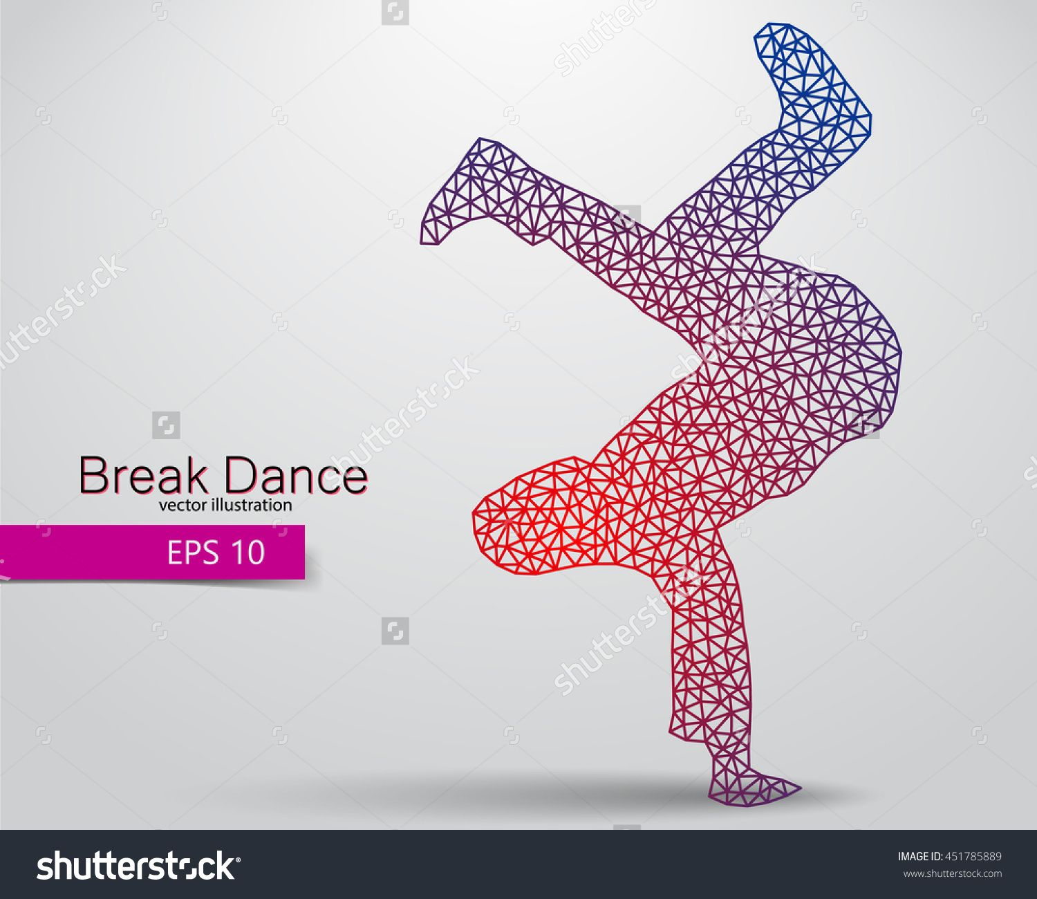 Silhouette of a break dancer from triangles. Background and text on a separate layer, color can be changed in one click. Break dance